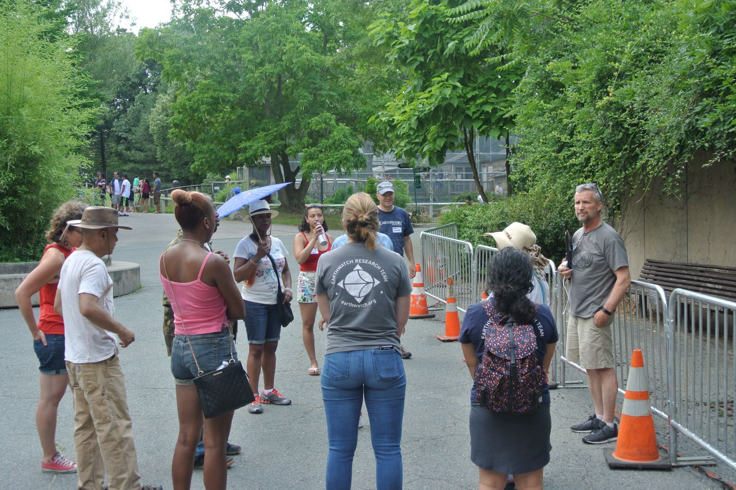 Dr. Mark Chandler showing RAIN attendees the location of the future Franklin Park Zoo Rain Garden