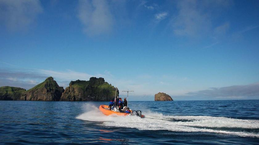 Earthwatch volunteers head out to sea by boat (C) David Gaspard