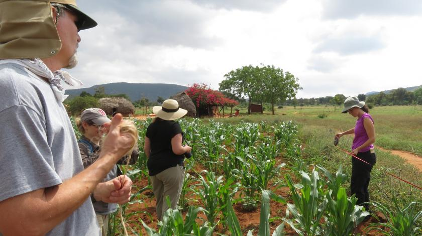 Earthwatch volunteers monitor sustainable agriculture methods (C) Lynn Von Hagen