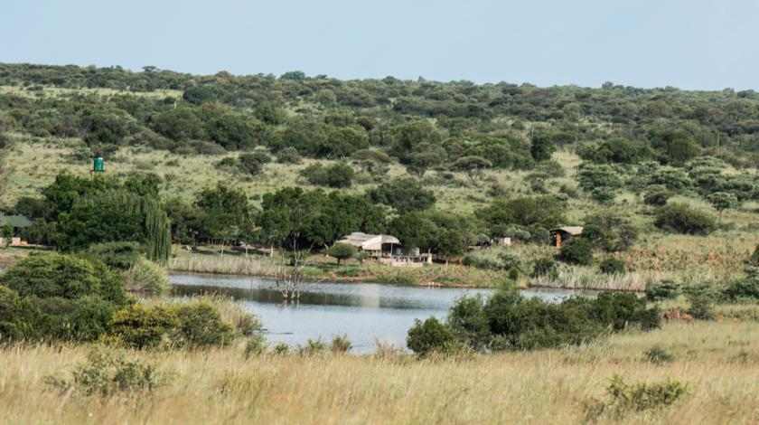 A view of the volunteer accommodations from across the reserve (C) John Lecher