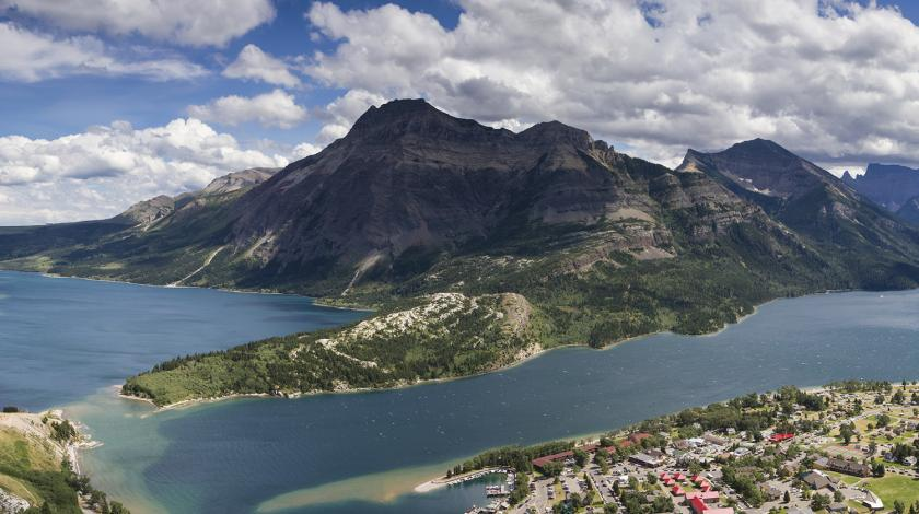 Aerial view of Waterton Lakes National Park