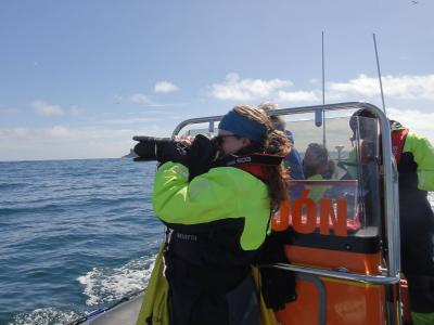 Earthwatch volunteers photograph killer whales when they surface (C) Elise Begin