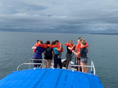 An Earthwatch teen team gathers on the research boat (C) Caroline Nassif