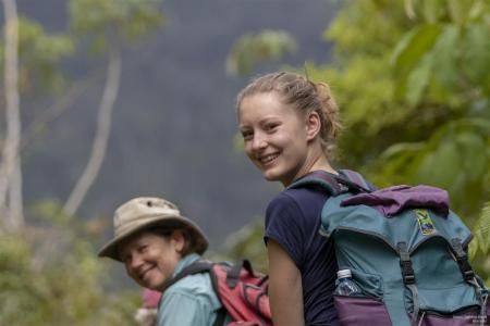 earthwatch volunteers hiking with packs in cuba