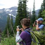 Earthwatch volunteers take in the scenic mountain view in Waterton Lakes National Park
